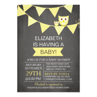 Chalkboard Bunting Owl Gender Neutral Baby Shower Card