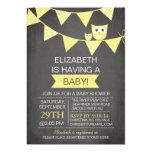 Chalkboard Bunting Owl Gender Neutral Baby Shower 5x7 Paper Invitation Card