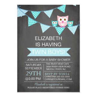Chalkboard Bunting Owl TWIN BoyS Baby Shower 5x7 Paper Invitation Card