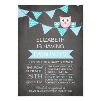 Chalkboard Bunting Owl TWIN BoyS Baby Shower Card