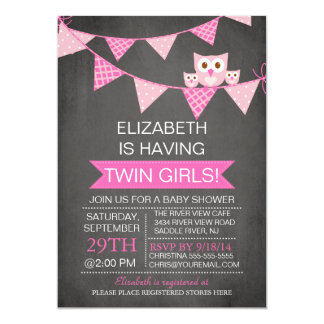 Chalkboard Bunting Owl TWIN GIRLS Baby Shower 5x7 Paper Invitation Card