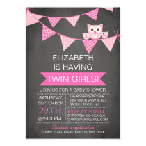 Chalkboard Bunting Owl TWIN GIRLS Baby Shower Card