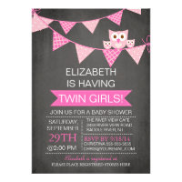 Chalkboard Bunting Owl TWIN GIRLS Baby Shower Custom Announcements