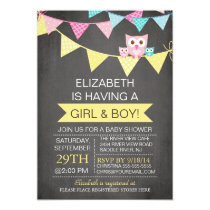 Chalkboard Bunting Owl TWINS GIRL BOY Baby Shower Card