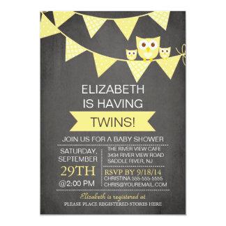 Chalkboard Bunting Owl TWINS NEUTRAL Baby Shower Card