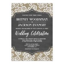 Chalkboard Burlap and Lace Wedding Invitations