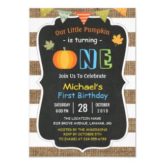 Chalkboard Burlap Cute Pumpkin Baby First Birthday Card
