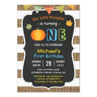 Chalkboard Burlap Cute Pumpkin Baby First Birthday Invitation