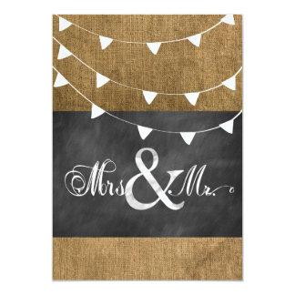 Chalkboard Burlap Flag Doily Wedding Invitation