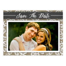 Chalkboard Burlap & Lace Photo Save the Date Cards Postcard