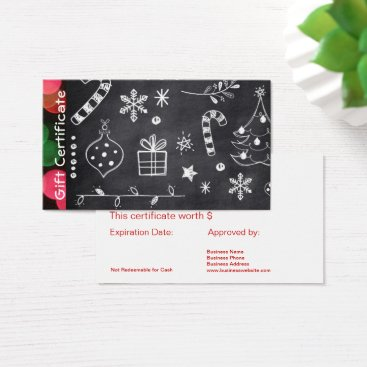 Professional Business Chalkboard Business Holiday Gift Card Certificates