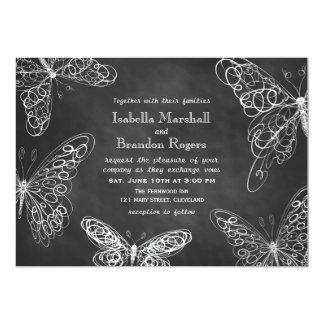 Chalkboard Butterflies Wedding Invitation