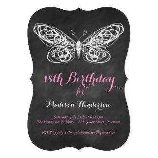 Chalkboard Butterfly 18th Birthday Invitation