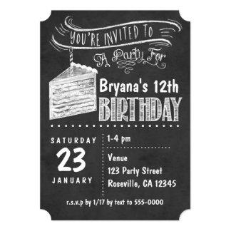 Chalkboard Cake Slice Birthday Party Invitations