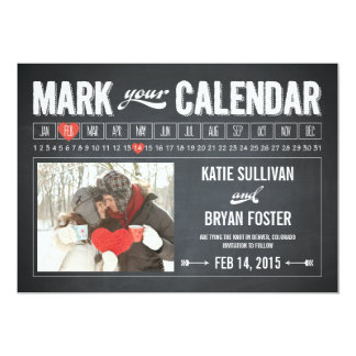 Chalkboard Calendar Photo Save The Date Cards