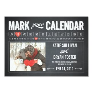 Chalkboard Calendar Photo Save The Date Cards