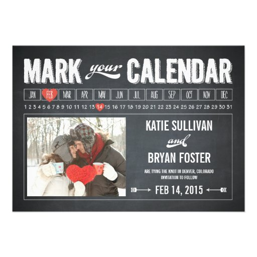 Chalkboard Calendar Photo Save The Date Cards (front side)