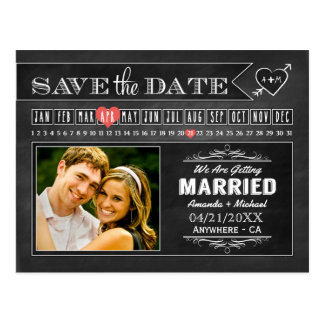 Chalkboard Calendar Photo Save The Date Cards Postcard