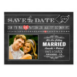 Chalkboard Calendar Photo Save The Date Cards Postcard