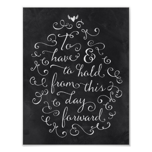 Chalkboard Calligraphy Wedding Vows Poster Zazzle