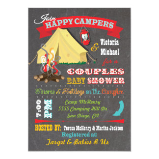 Chalkboard Camping Baby Shower Invitations