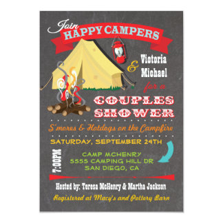 Chalkboard Camping Couples Shower Invitations