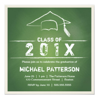 Chalkboard Cap and Tassel Graduation Party Card