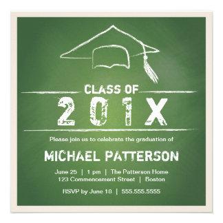 Chalkboard Cap and Tassel Graduation Party Announcements