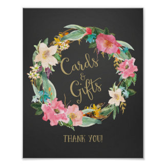 Chalkboard Cards and Gifts Wedding Poster Print