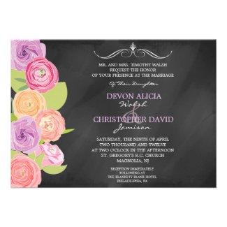 Chalkboard Cascading Flowers Wedding Invitation
