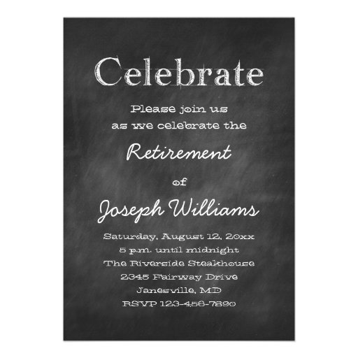 Chalkboard Celebrate Retirement Party Invitations