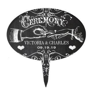 Chalkboard Ceremony Typography Cake Topper