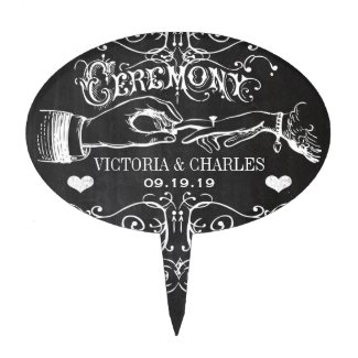 Chalkboard Ceremony Typography Cake Topper