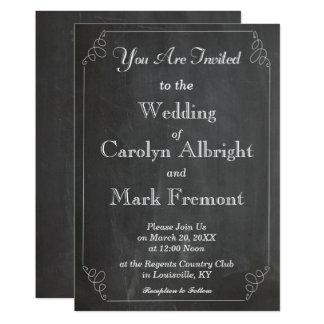 Chalkboard Chalked Typography Vintage Wedding Card