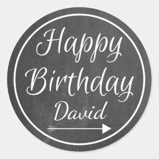 Chalkboard Chalked White Frame Happy Birthday Name Classic Round Sticker