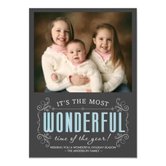 Chalkboard Cheerful Holiday Photo Flat Cards
