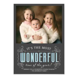 Chalkboard Cheerful Holiday Photo Flat Cards Custom Invitation