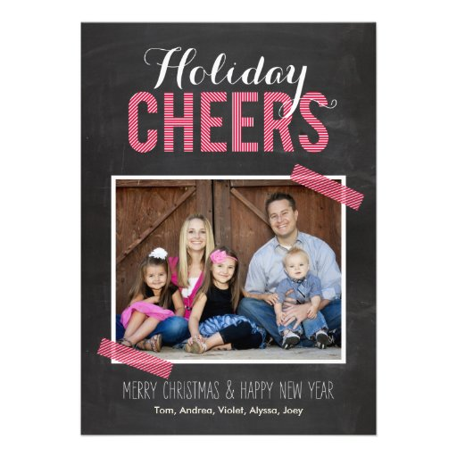 Chalkboard Cheers Holiday Photo Cards Invite