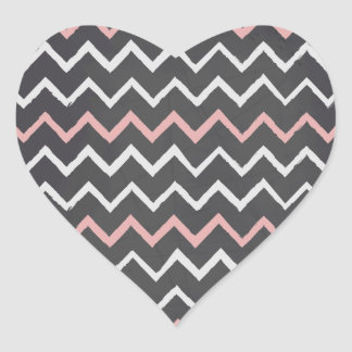 Chalkboard Chevron Pattern Heart Sticker