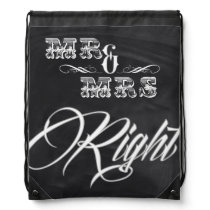 chalkboard chic vintage typography mr and mrs drawstring bag