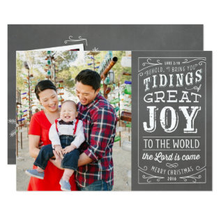 Chalkboard Christian Holiday Photo Card 2016 at Zazzle