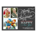 Chalkboard Christmas 3-Photo Holiday Flat Card Invite