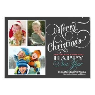 Chalkboard Christmas 3-Photo Holiday Flat Card Invite