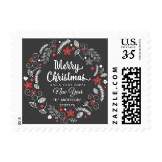 Chalkboard Christmas Botanical Wreath Postcard Postage at Zazzle