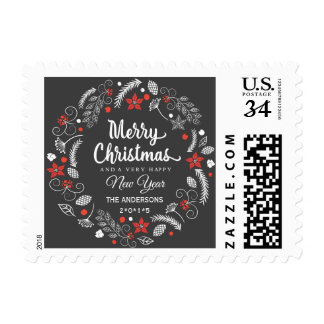 CHALKBOARD CHRISTMAS BOTANICAL WREATH POSTCARD POSTAGE
