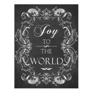 Chalkboard Christmas card Joy to the World Postcard