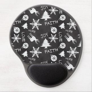 Chalkboard Christmas Fun Pattern Holiday Gel Mouse Pad