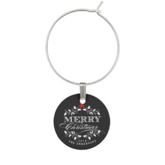 Chalkboard Christmas Holly Vintage Typography Wine Charms