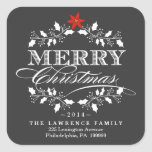 """Chalkboard Christmas Holly Wreath Address Stickers<br><div class=""""desc"""">Square Envelope Sealing Labels with return address for Holiday Christmas Cards -- Elegant vintage chalkboard style Merry Christmas holiday design for greeting cards and seasonal party invitations. Fancy white holly wreath design with retro letterpress style decorative typography. Add your family name or personalized message text. Contemporary, classic, modern and stylish...</div>"""