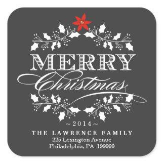 Chalkboard Christmas Holly Wreath Address Stickers